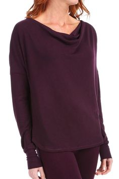 Thick knit plum colored long sleeve top with light cowl neck and soft ribbed wrist cuff. Pair with black leggings and slippers for a comfortable after work outfit for around the house.   Ease Up Top by Carole Hochman Midnight. Clothing - Tops - Long Sleeve New York