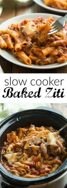 This Slow Cooker Baked Ziti is actually made completely in the crockpot — even the pasta! It is so much easier than the traditional version but packs all of the same flavor!