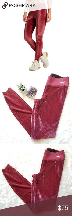 "New Puma Active Velvet Leggings! Pink velvet leggings by Puma. Size Small. New with tags. 28"" waist, 27"" inseam and 36"" long. Comes from a smoke-free pet-free home. Fast shipping! NO TRADES! Puma Pants Leggings"