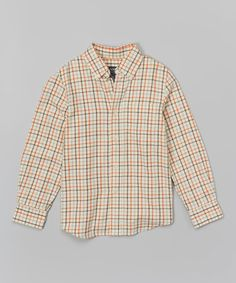 Loving this Ivory Plaid Button-Up - Boys on #zulily! #zulilyfinds