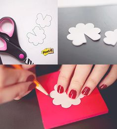 How To: Simple post it Pin Blossoms. Trace the flower pattern onto your favorite color notes and cut them out.