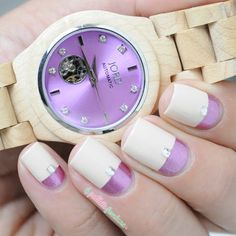 JORD Watch Cora maple and lavender assorted nail art - pink and cream nails - http://lapaillettefrondeuse.blogspot.be/2015/08/jord-watch-cora-sassortir-sa-montre.html - http://www.woodwatches.com/#lapaillettefrondeuse