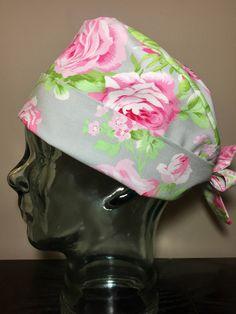 Pink Roses on Grey Surgical Scrub Hat, Beautiful Women's Pixie Scrub Cap, Operating Room Hat, Custom Caps Company by CustomCapsCompany on Etsy