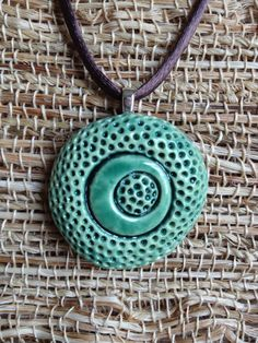 Items similar to Blue green ceramic pendant on Etsy Ceramic Necklace, Ceramic Pendant, Polymer Clay Necklace, Polymer Clay Pendant, Ceramic Jewelry, Ceramic Beads, Ceramic Clay, Polymer Clay Creations, Polymer Clay Crafts