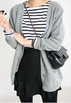 Outfit Posts: outfit post: striped shirt, grey boyfriend cardigan, black mini skirt, black flats