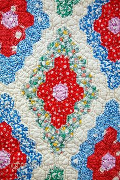 Quilt Index - Close up of Diamond Field by Sarah Ogden Kemp - (1930-1949)