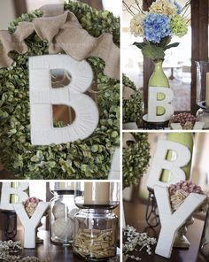Vintage Lamb Baby Shower - yarn letters