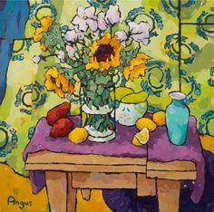 Angus Wilson - Sunflowers, Pears, and Papaya with Fish Drape   1stdibs.com