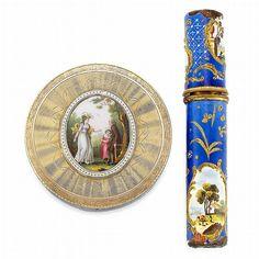 Antique Gold, Portrait Miniature, Enamel and Guilloche Enamel Box & Metal and Enamel Needle Case - Doyle New York   AuctionZip