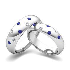Matching Wedding Bands: Scattered Diamond and Sapphire Wedding Ring in 14k Gold. #myloveweddingring, #weddingring
