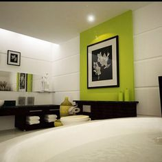 Bathroom, Excellent Green Bathroom With Light Green Accent Walls And White Bathroom Furniture Also Washbasin With Black Storage And Rounded Bathtub Also Monochrome Colored With Wall Painting Ideas: Terrific Bathroom Design Need to Be Done Piece by Piece Modern Bathroom Decor, Bathroom Interior Design, White Bathroom, Interior Decorating, Bathroom Designs, Bathroom Ideas, Bathroom Furniture, Bathroom Wall, Master Bathroom