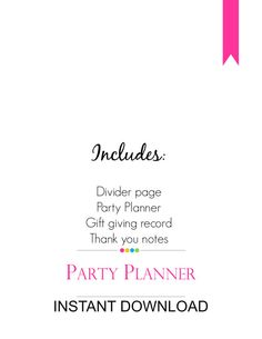 Party Planner - MadeInCraftadise printable planners PDF.