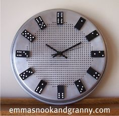 DIY Clock made with dominoes (You can use a stove burner cover for the base)