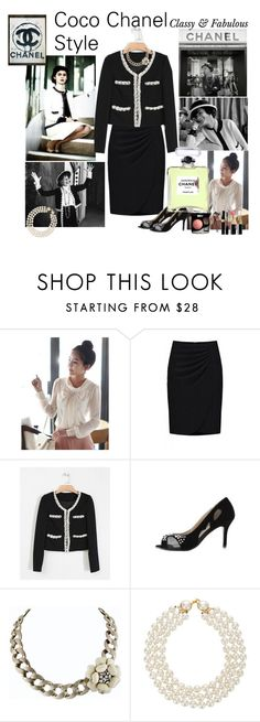 """""""New Autum Arrival with Coco Chanel Style"""" by cj-dunkle ❤ liked on Polyvore featuring Chanel, indressme, coco chanel, contest, shoes, jacket, new autumn arrival, clothes, chanel and pearls"""