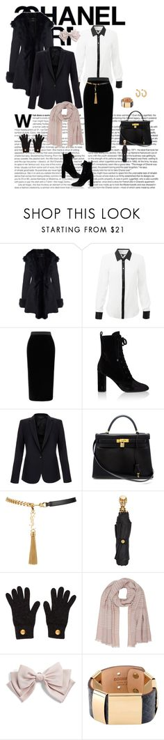 """IMAGE KOLLECTION"" by imagekollection ❤ liked on Polyvore featuring Roland Mouret, Yves Saint Laurent, Equipment, Hermès, Alexander McQueen, Chanel, M&Co, Cara, Dsquared2 and Holly Ryan"