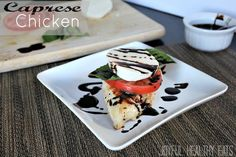 Caprese Chicken with a Balsamic Reduction #caprese #chickenrecipes #maindishes by Joyful Healthy Eats
