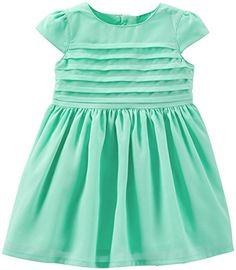 Carters Baby Girls Pleated Dress Baby  Turquoise  9 Months ** See this great product. (This is an affiliate link)