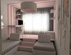 Bricolage e Decoração: Quarto para duas meninas muito original