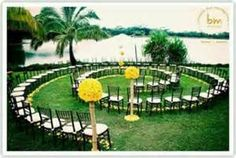 outdoor wedding ideas on a budget - Bing Images. I love this idea, too late for me but for friends that are getting married. Grat way to show off the dress, see everyone and a girl always wants a long isle to walk down on her wedding day.
