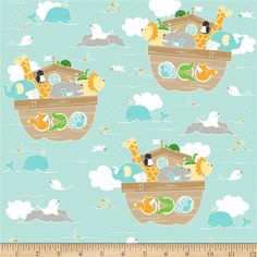 Riley Blake Little Ark Main Aqua from @fabricdotcom  Designed by Carina Gardner for Riley Blake Designs, this fabric is perfect for quilting, apparel and home decor accents. Colors include grey, yellow, tan, white, green, orange and aqua.