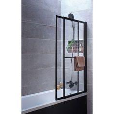 Pare-baignoire 2 volets pivotant coulissant 140 x 123cm verre transparent Lift   Leroy Merlin