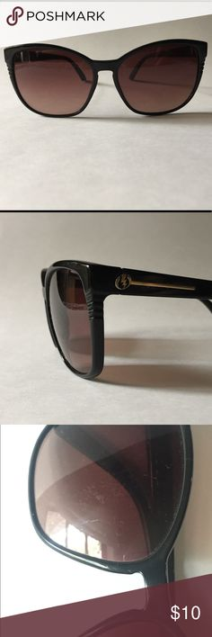Electric Rosette Sunglasses Black frames, gold logo detail, with rose gradient lens. Some scratches on lenses. Made in Italy. Electric Accessories Sunglasses