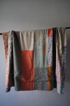 Beautiful patchwork kimono blanket.
