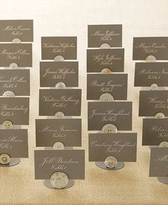 button placecards, boutique signing