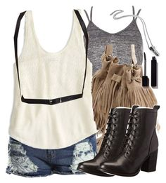 """Malia Inspired Outfit with a Harness Belt"" by veterization ❤ liked on Polyvore featuring River Island, Retrò, Boohoo, American Eagle Outfitters, J.J. Winters, Steve Madden and Serge Lutens"