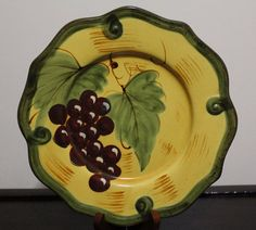 Home Accents Wine Grape Motif Salad Plate Microwave Dishwasher Safe
