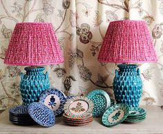 I do adore these Turquoise Teardrop Urn glazed ceramic lamp bases with hand printed silk shades. by angela_smith_interiors Chandeliers, I Love Lamp, Take A Seat, Glazed Ceramic, Pink Silk, Lamp Bases, Beautiful Interiors, Decoration, Upholstery