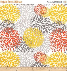SALE  Premier Prints Blooms Citrus Outdoor by FabricSupplyCo