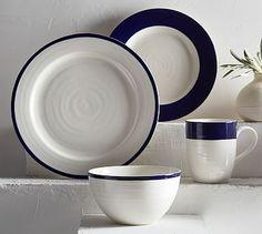 Banded Rim Dinnerware, Set of 4 - Navy   Pottery Barn