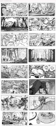 Alice in Wonderland storyboard Storyboard Film, Storyboard Examples, Animation Storyboard, Storyboard Artist, Animation Reference, Comic Books Art, Comic Art, Illustrations, Illustration Art
