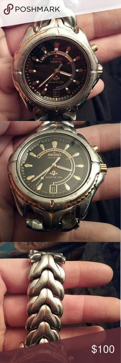 Seiko kinetic self winding watch silver gold Used condition  Scratches  Wearable and works Accessories Watches
