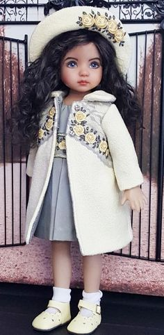 "COAT,SILK DRESS,BONNETT SET MADE FOR EFFNER LITTLE DARLING 13""&MY MEADOW DOLLS"