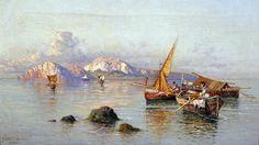 Giuseppe Carelli (Napoli 1858 - Portici (NA) 1921) Pescatori a Capri.