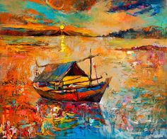 Sunset 23in x 20in, Original oil painting by Nikolov