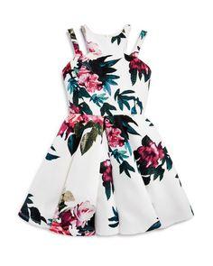 Miss Behave Girls' Floral Print Double Strap Dress - Sizes S-xl