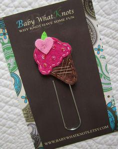 Kids Girls Ice Cream Bookmark, Felt Ice Cream Bookmark, Paper Clip Sytle Place Holder, bmcone19