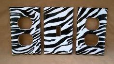 Zebra decor. easy DIY, white plate overs are like .59
