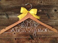 Bridal Hanger / Wedding Hanger / LOVE BIRDS Wedding / Rustic Wedding / Personalized Hanger / Brides Hanger / Love Birds Hanger / Burlap. $36.00, via Etsy.