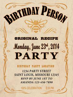 HONEY Style Jack Daniels Whiskey Birthday Invitation - PDF Files to Print