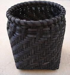 Midnight Black Woven Storage Basket