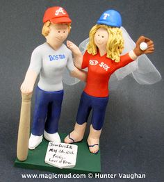 Lesbian's Wedding Cake Topper  Batter Up!!!...it's baseball season, and that coincides with the matrimonial season....so there is a brief time out from the old ball game for this most romantic of interludes....Marriage!!    ...you could say the bases where loaded when this sweeet couple knocked the ball outta the park!...Home Run for the 2 Brides!!....#lesbian#wedding#cake#topper#gay#two brides#custom#boston red sox $240