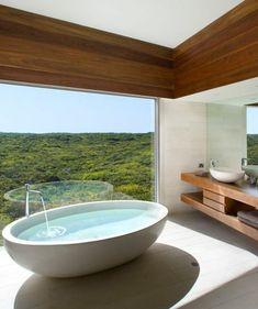 ▷ ideas for a stylish and modern dream bathroom, dream bathroom with oval, white bathtub and a beautiful view. Bathroom Design Luxury, Modern Bathroom, Bathroom Layout, Bathroom Island, Dream Bathrooms, House Rooms, Bathroom Inspiration, House Design, Spa Design