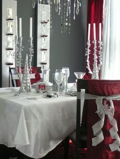 Loving this red and white theme.  And what a great easy way to cover a chair. Also pillow cases & ribbon work fyi