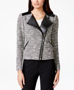 Calvin Klein Tweed Faux-Leather Moto Jacket