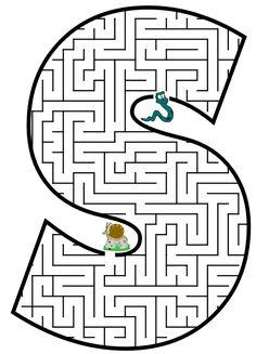 gratis doolhof labyrinth puzzle game voor Kinderen Maze Letter S Mazes For Kids Printable, Worksheets For Kids, Free Printable, Letter Maze, Coloring Books, Coloring Pages, Maze Worksheet, Maze Puzzles, Alphabet Games