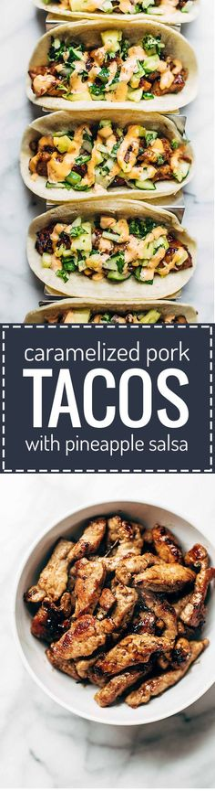Caramelized Pork Tacos with Pineapple Salsa - topped with sriracha mayo These were so so so so good. The pineapple salsa was beyond delicious. Think Food, I Love Food, Good Food, Yummy Food, Tacos And Burritos, Pork Tacos, Tacos Crockpot, Mexican Dishes, Mexican Food Recipes